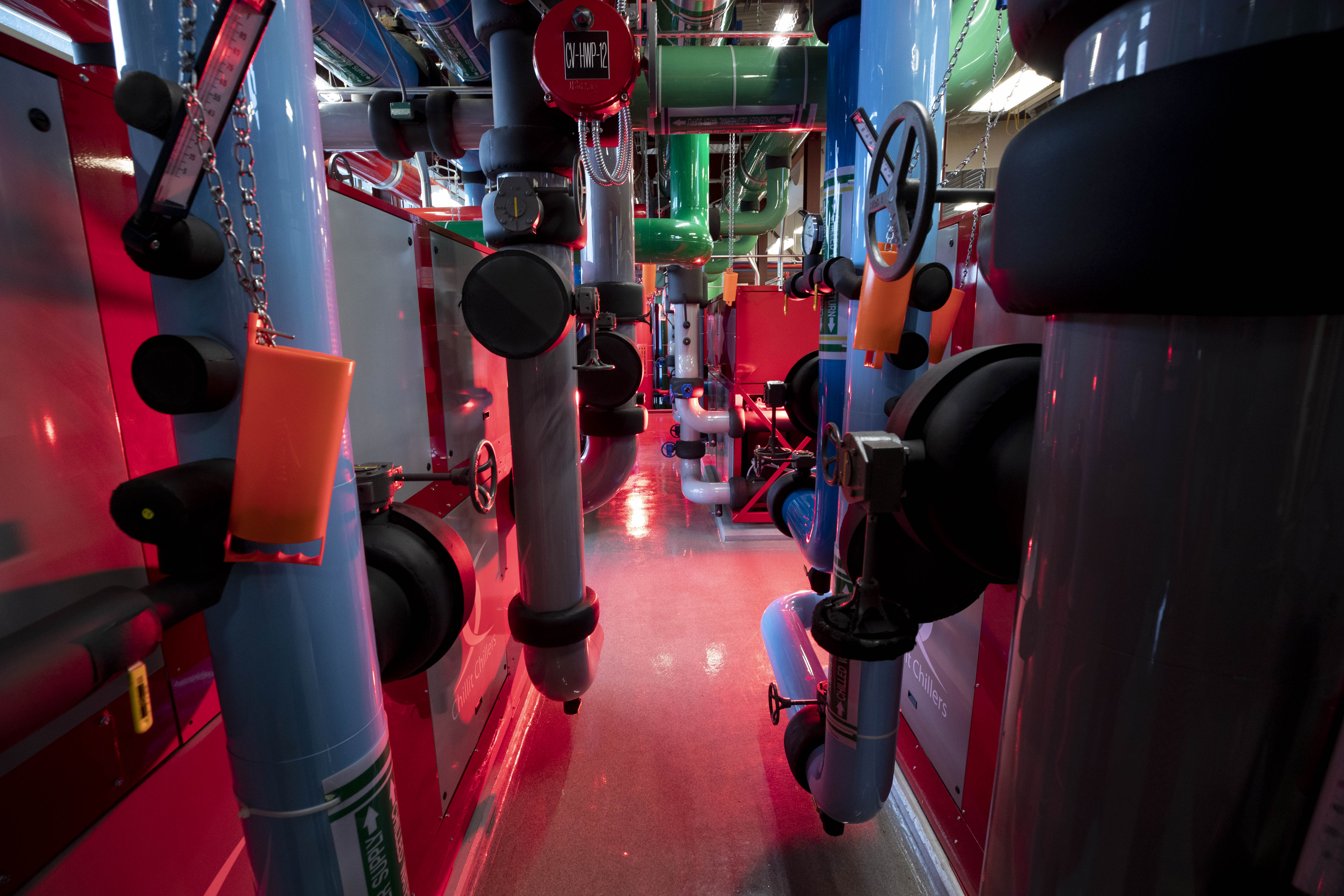 A view inside the geothermal energy plant at Miami University in Ohio.