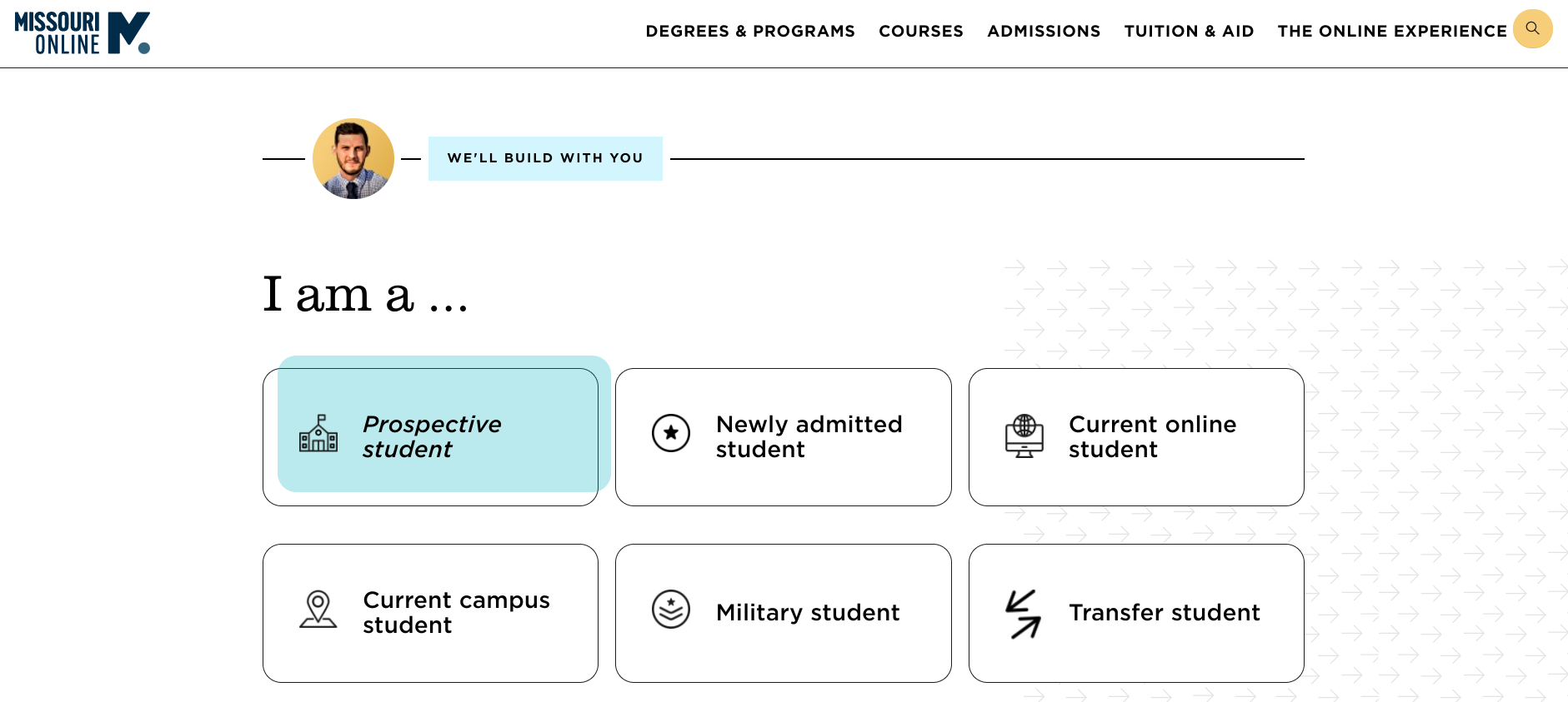 A screenshot of the Missouri Online portal showing access options for student groups