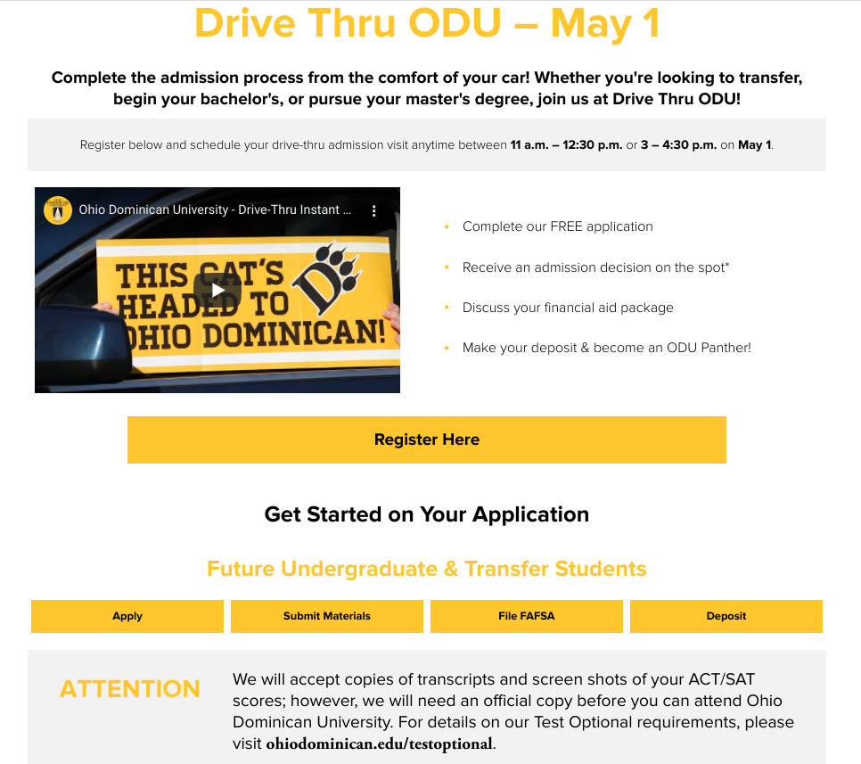 A screenshot of a webpage dedicated to Ohio Dominican University's drive-through event.