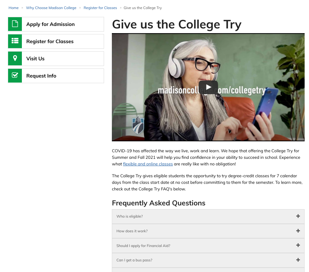 A screenshot of the webpage advertising Madison College's College Try program.